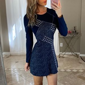 BCBGMaxAzria Navy Knit Patchwork Fit Flare Dress